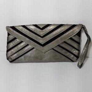 Handbags - velvet and silver metallic wristlet clutch bag